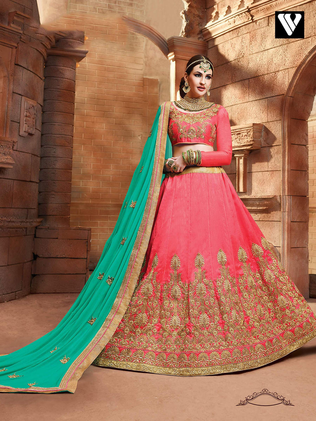 Fancy Style Party Wear Lehenga Saree In Peach