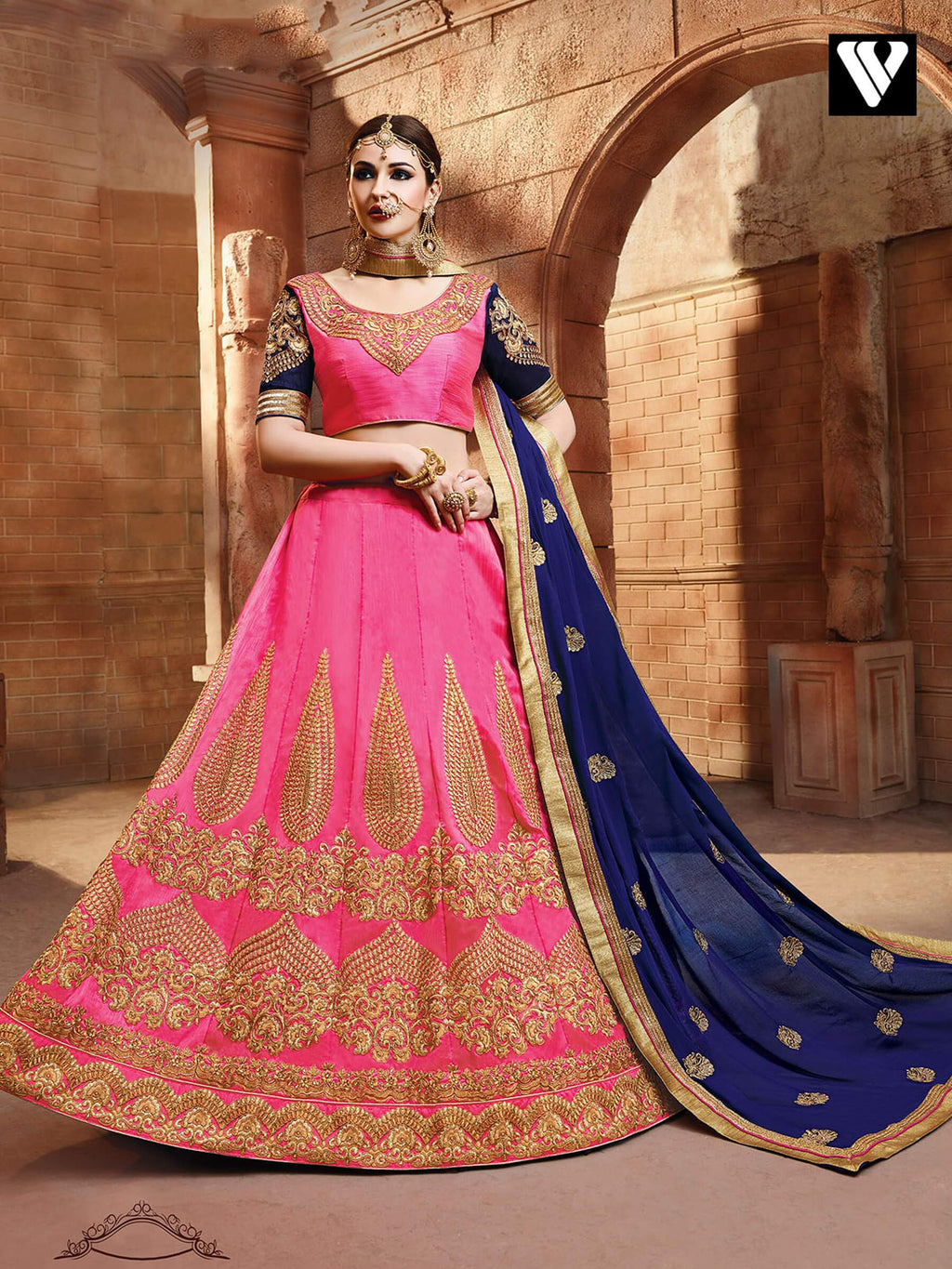 Designer Silk Fabric Pink Color Lehenga Saree