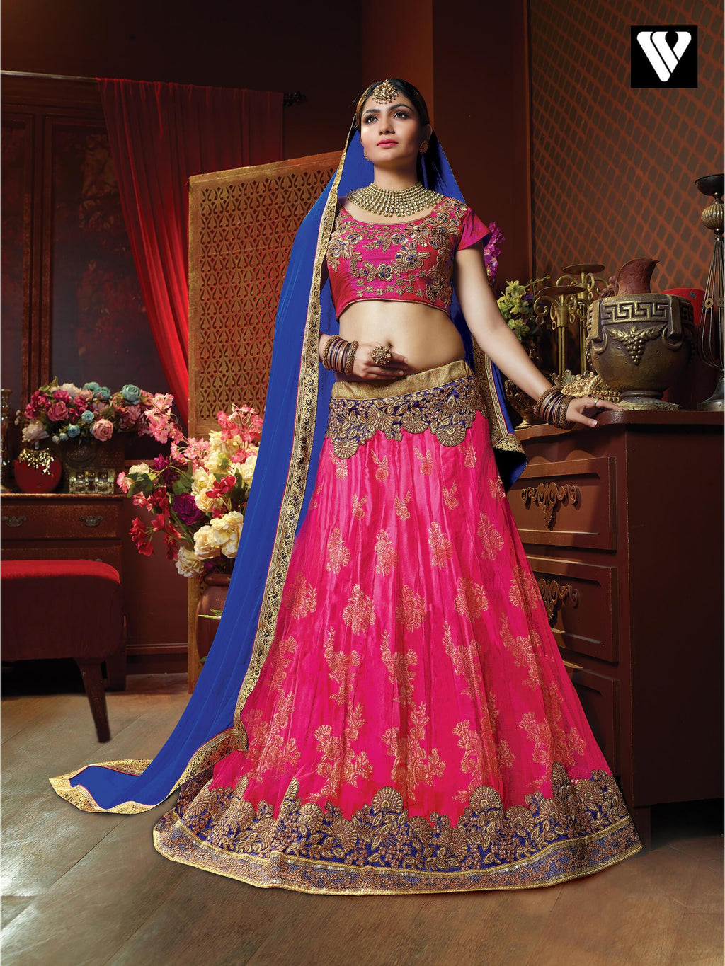 Embroidered Net Lehenga in Deep Pink