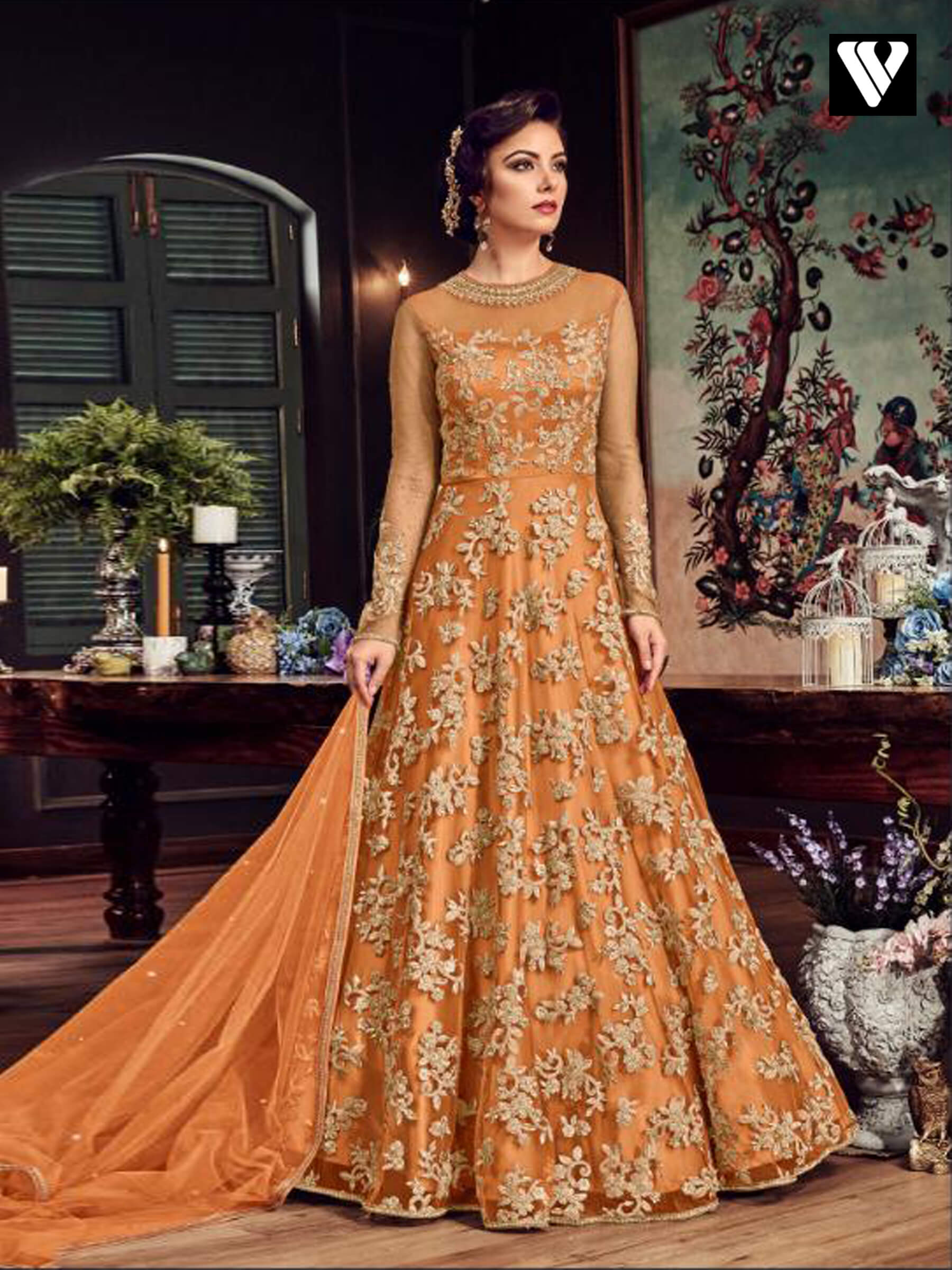 14b8de99a19 Buy Dark Orange Color Embroidered Net Anarkali Suit Online – Vesture ...