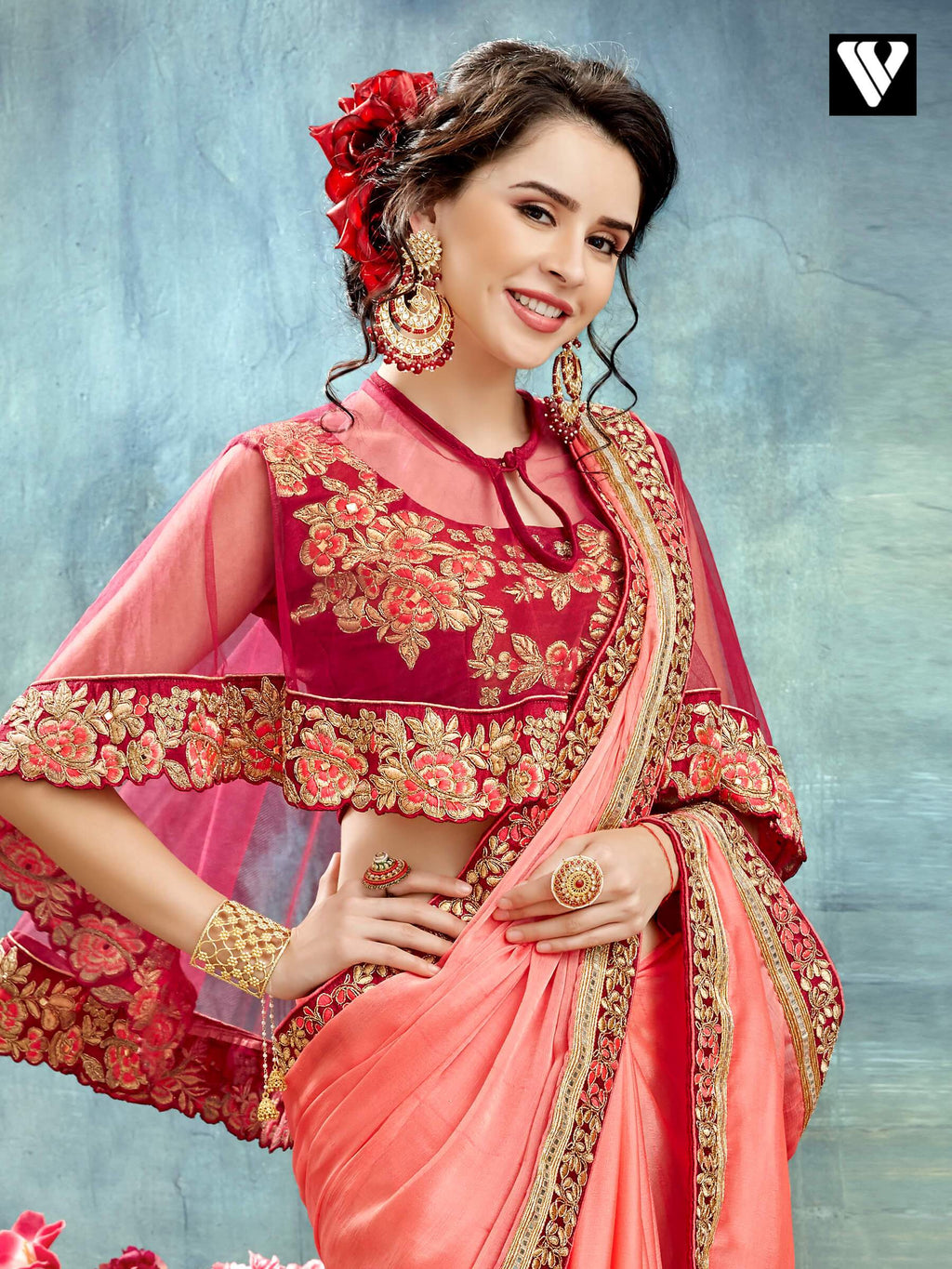 Wedding Wear Salmon Color Chiffon Designer Saree With Poncho Style Blouse