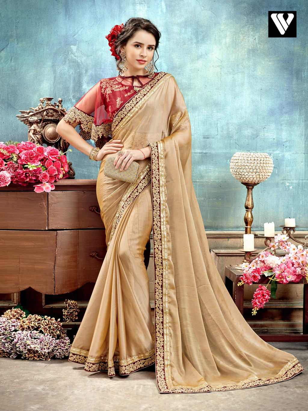 Cream Party Wear Chiffon Saree with Poncho Style Fancy Blouse