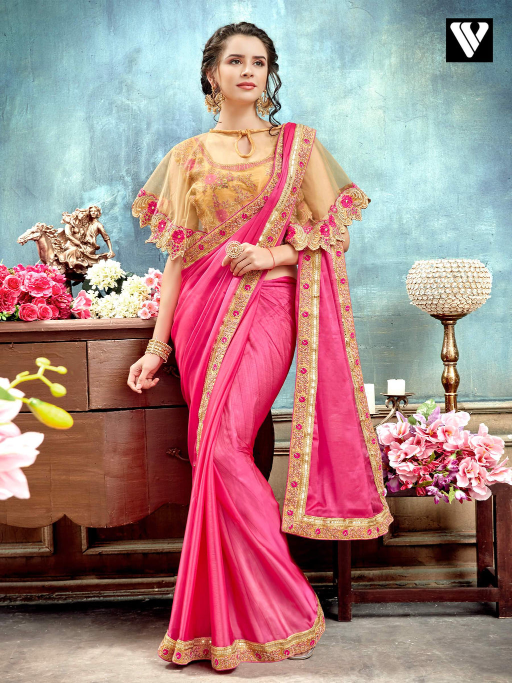Peach Function Wear Designer Saree with Poncho Style Heavy Blouse