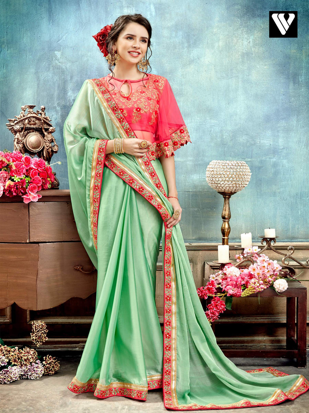 Sea Green Wedding Wear Fancy Saree with Poncho Style Blouse