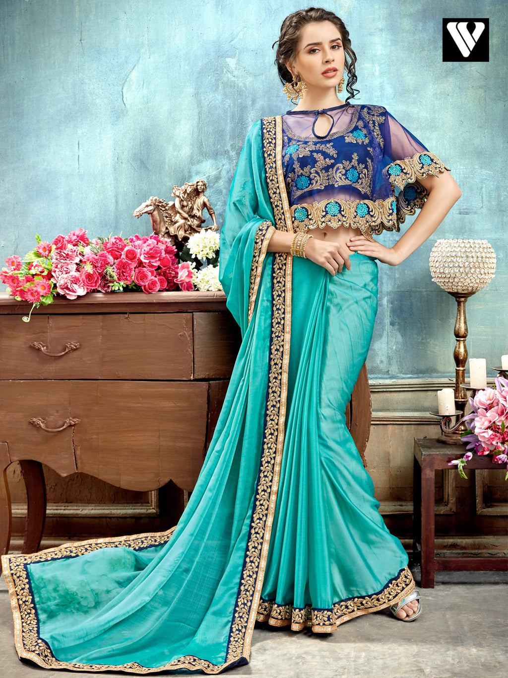 Sky Blue Chiffon Wedding Wear Designer Saree with Poncho Style Blouse