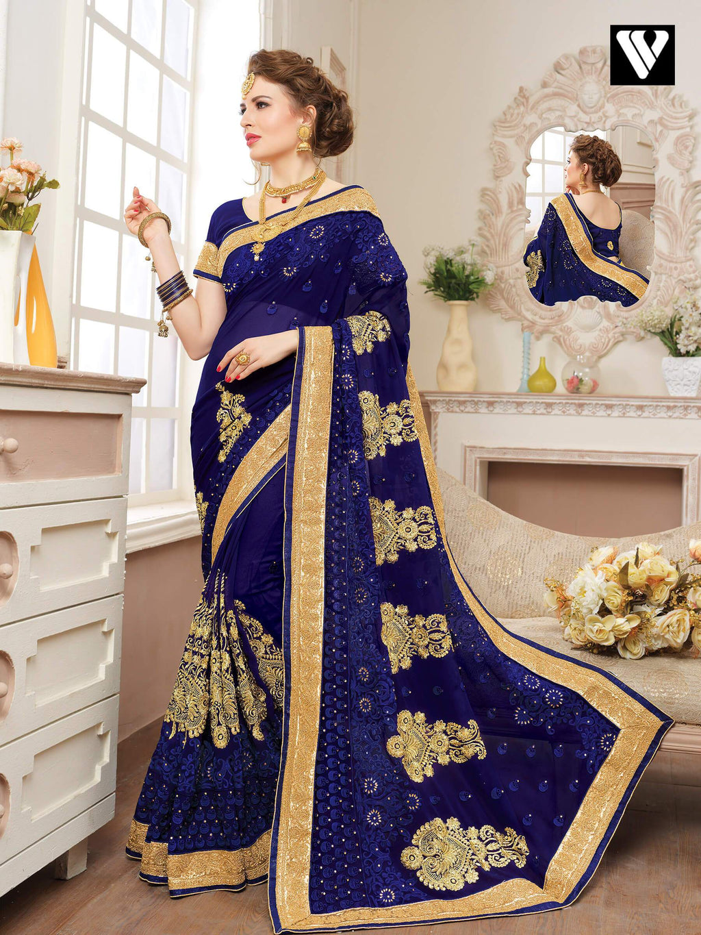 Navy Blue Embellished Georgette Funtion Wear Fancy Saree