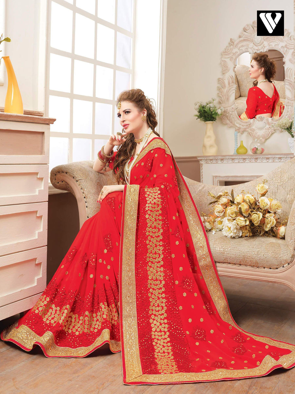 Red Georgette Bridal Saree with Silk Blouse