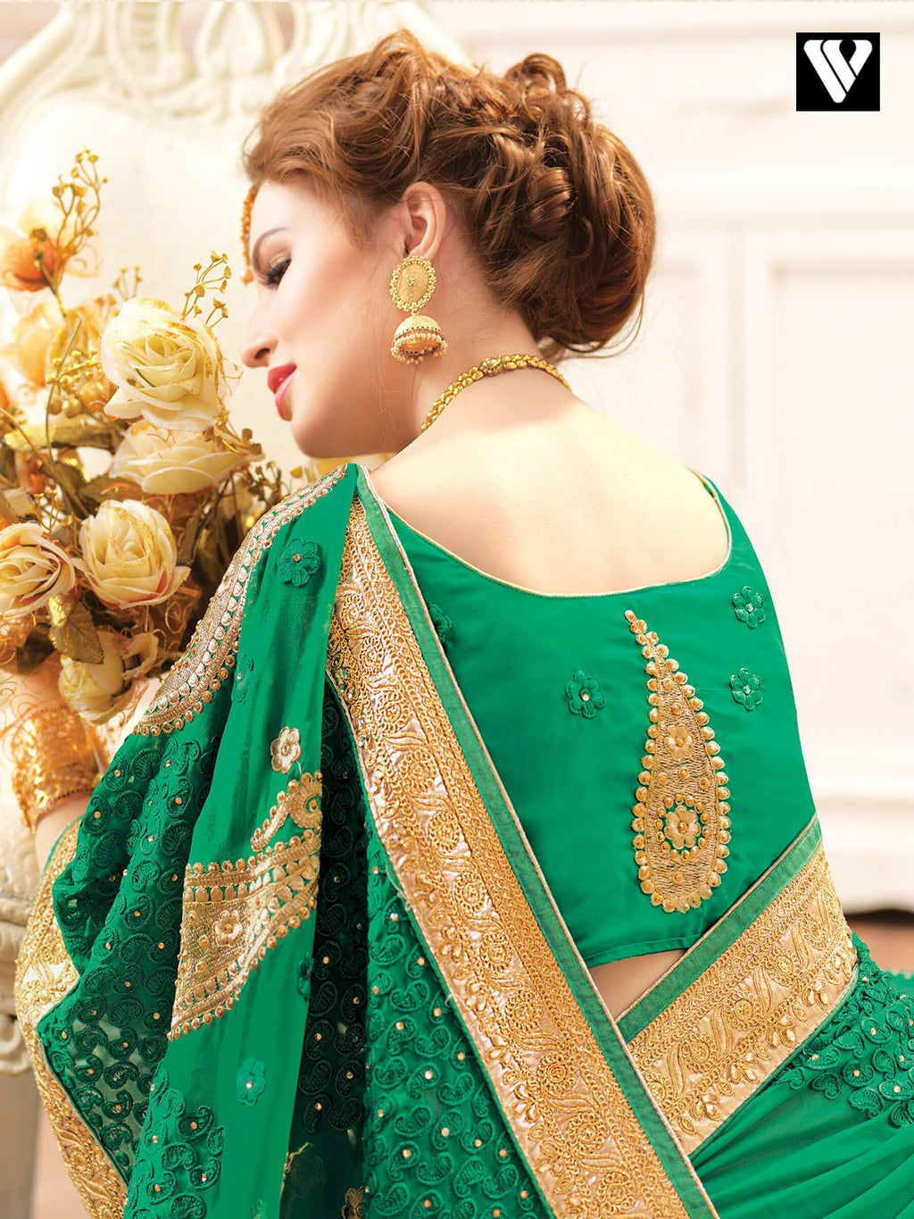 Embroidered Green Georgette Function Wear Fancy Saree