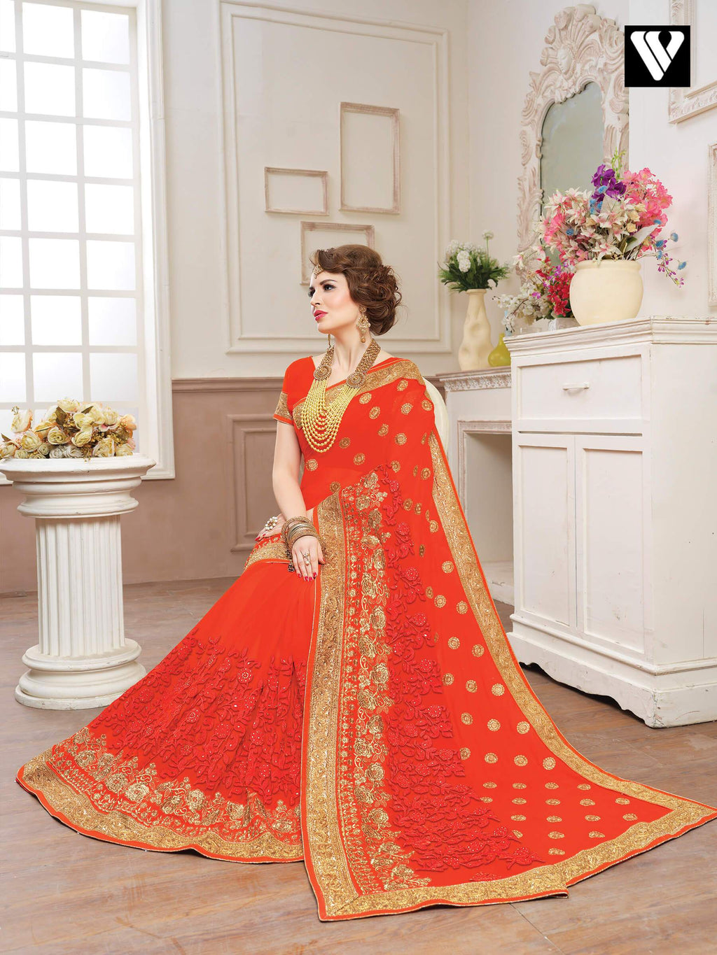 Orange Embellished Georgette Funtion Wear Fancy Saree