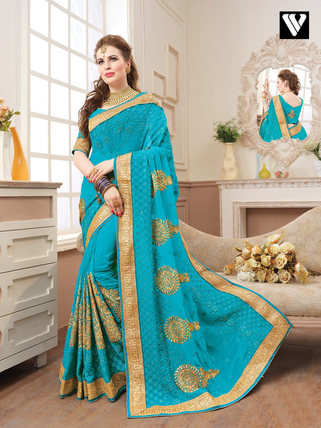 Embroidered Sky Blue Georgette Function Wear Saree