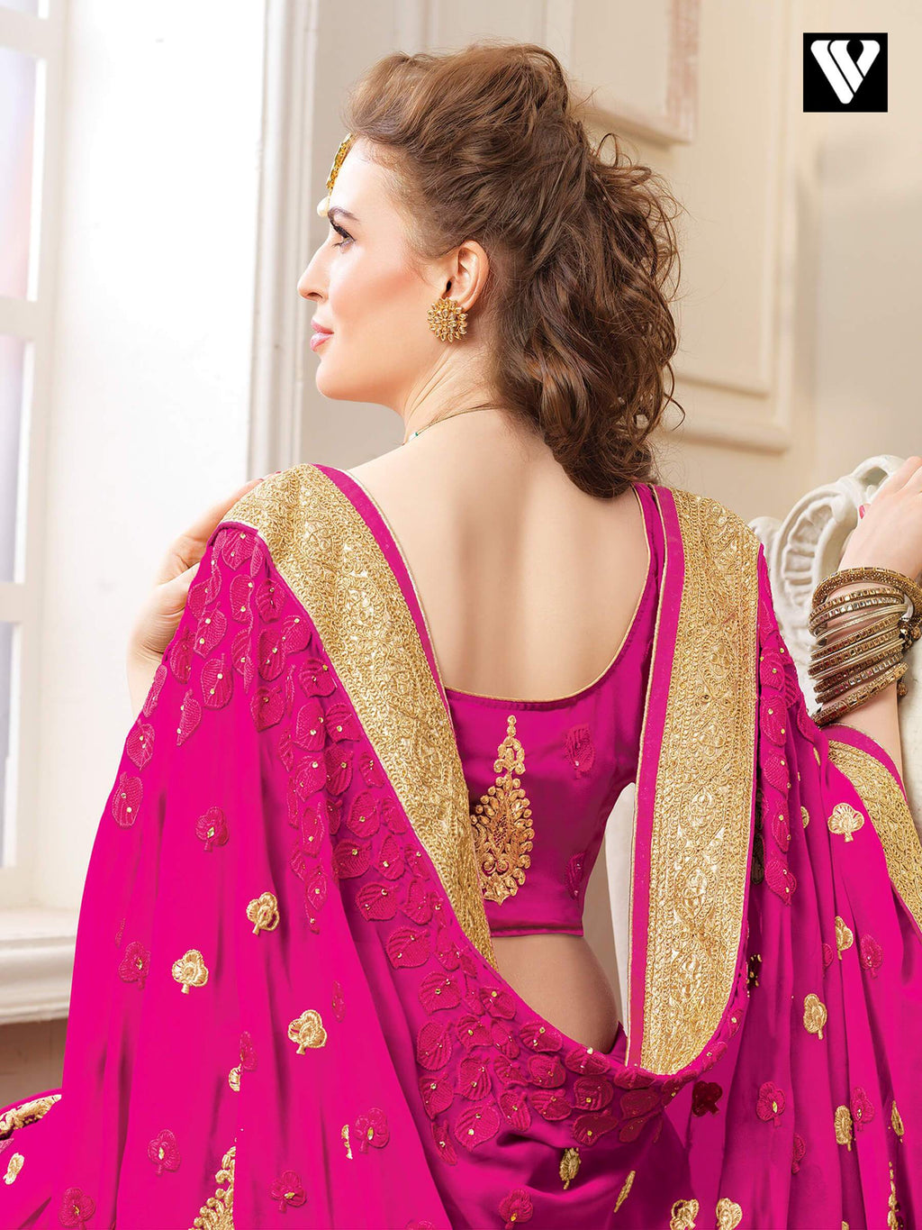 Wedding Function Wear Rani Color Designer Saree In Georgette