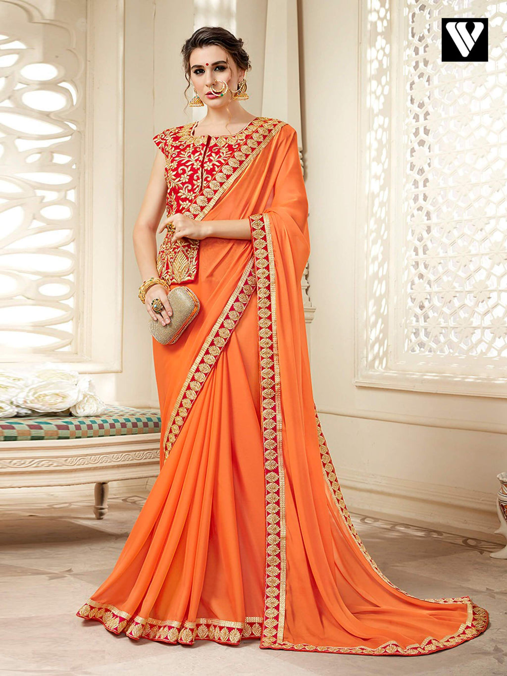 Designer Georgette Plain Saree with Lace Border and Embroidered Long Blouse