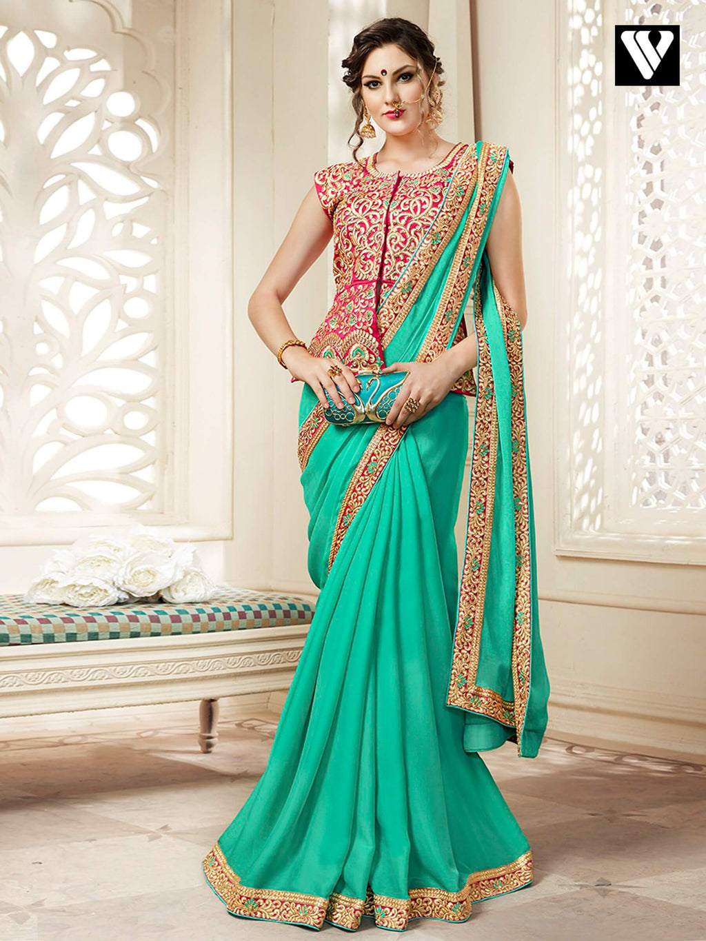 Georgette Function Wear Plain Saree with Lace Border and Heavy Long Blouse