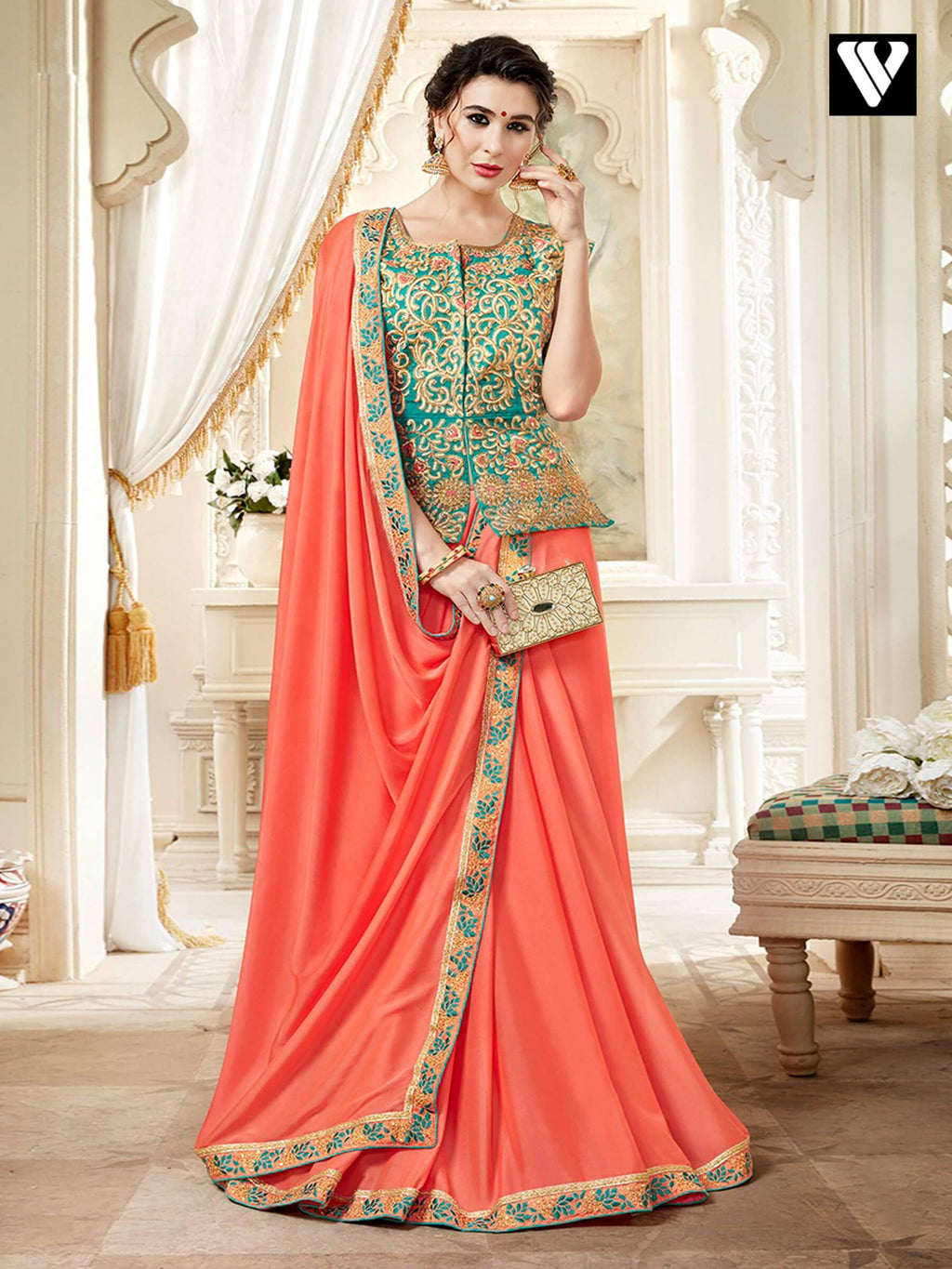 Sangeet Wear Fancy Plain Saree with Lace Border and Designer Long Blouse