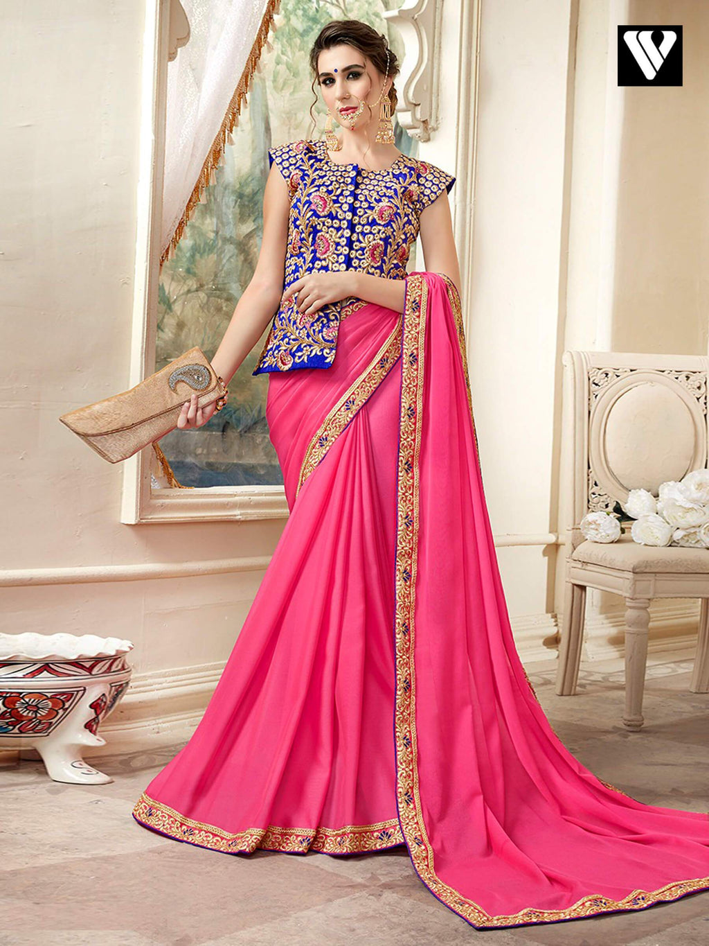 Function Wear Designer Plain Saree with Lace Border and Fancy Long Blouse