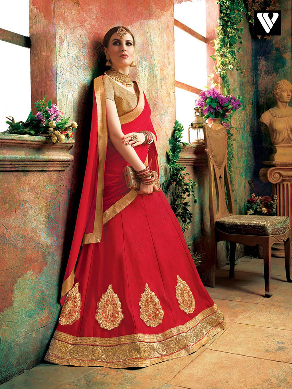 Fashionable Soft Silk Lehenga Saree In Red