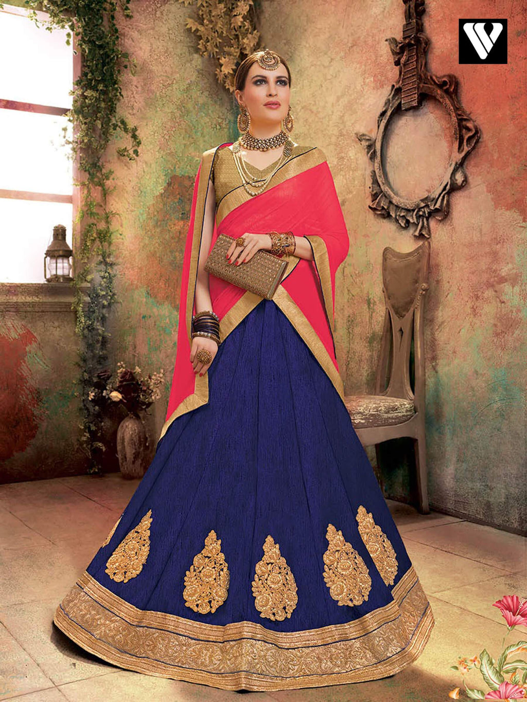 Nice Soft Silk Lehenga Saree In Blue