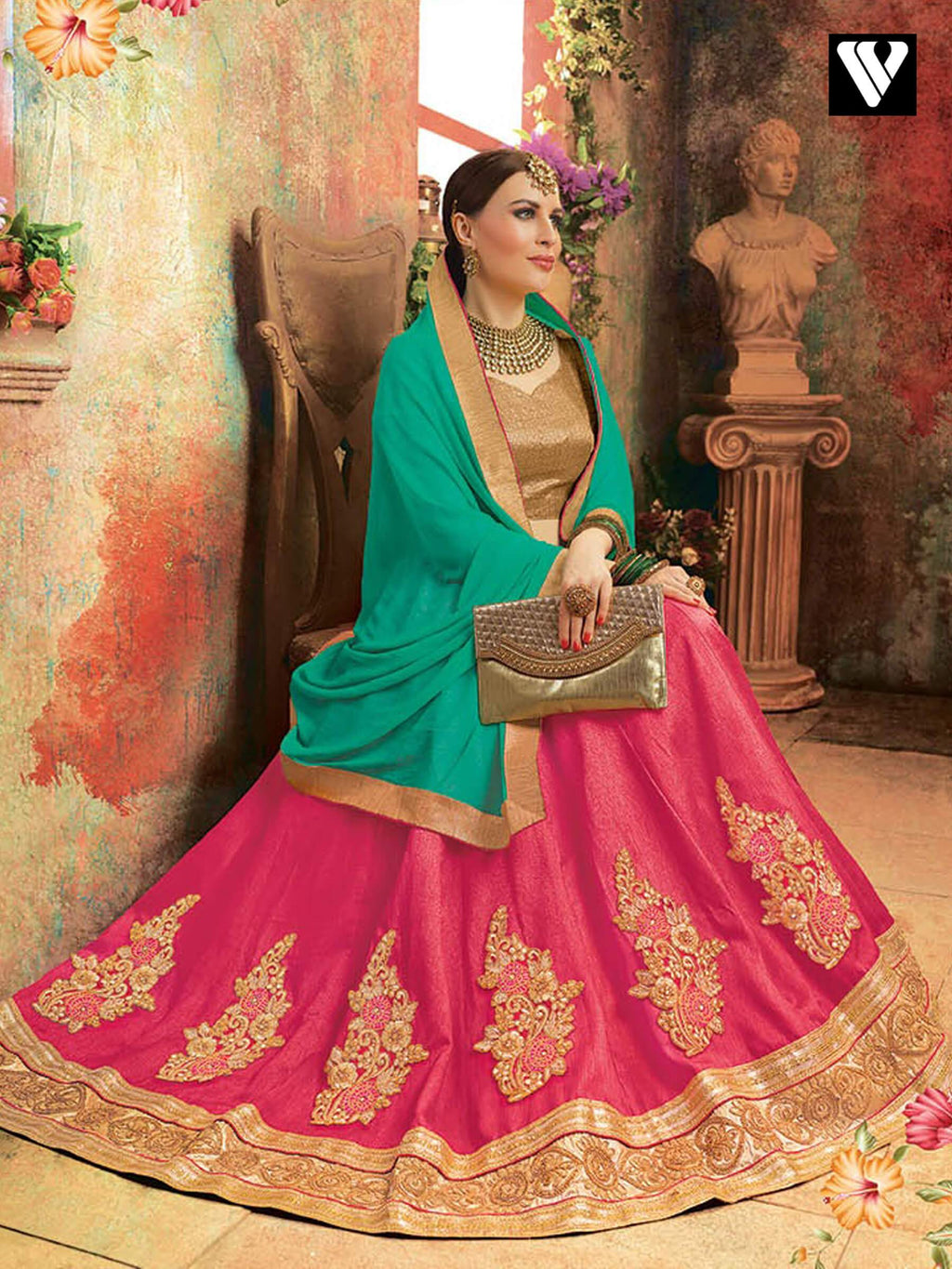Designer Soft Silk Lehenga Saree In Pink