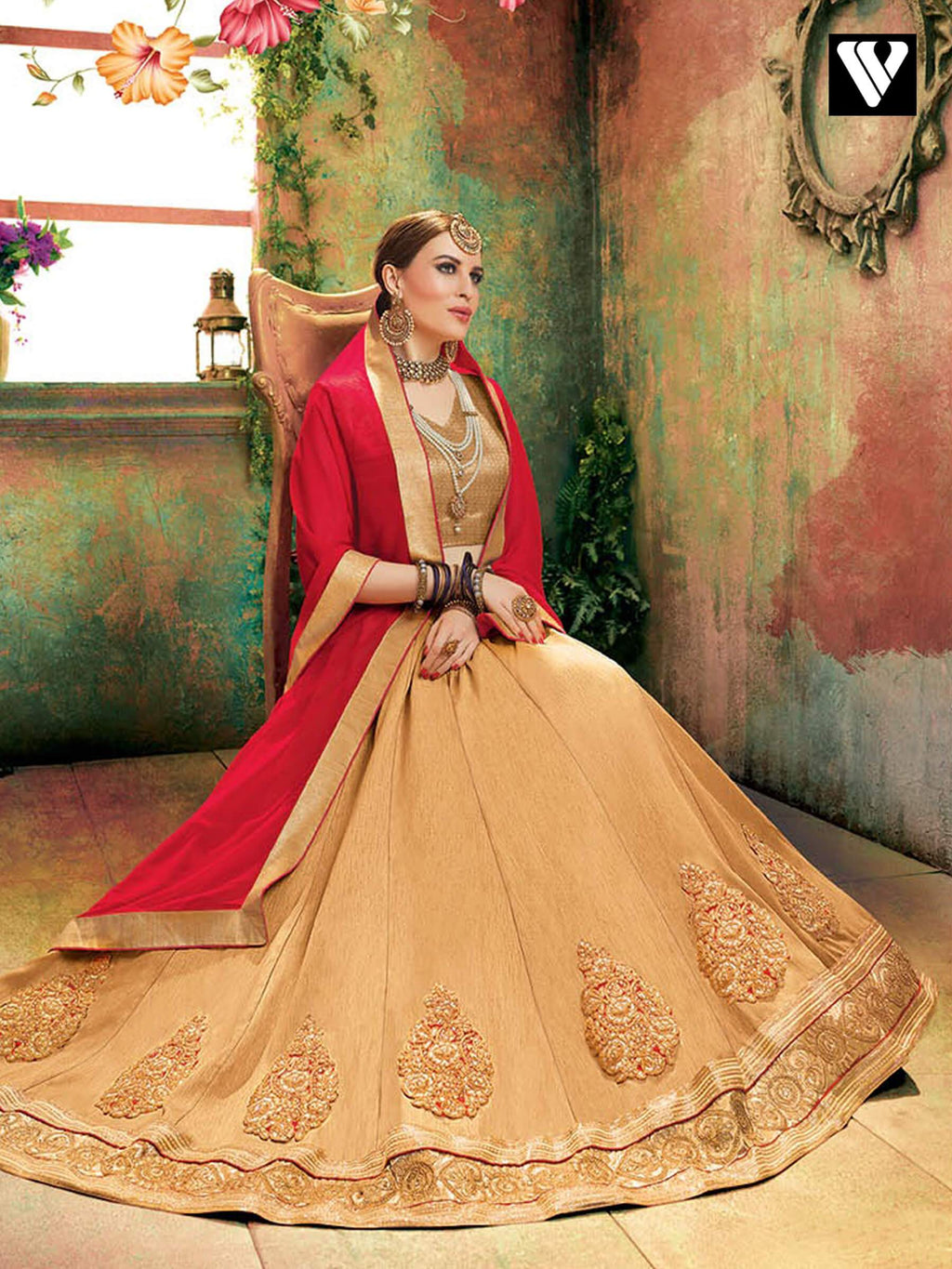 Elegant Fashion Soft Silk Lehenga Saree In Beige