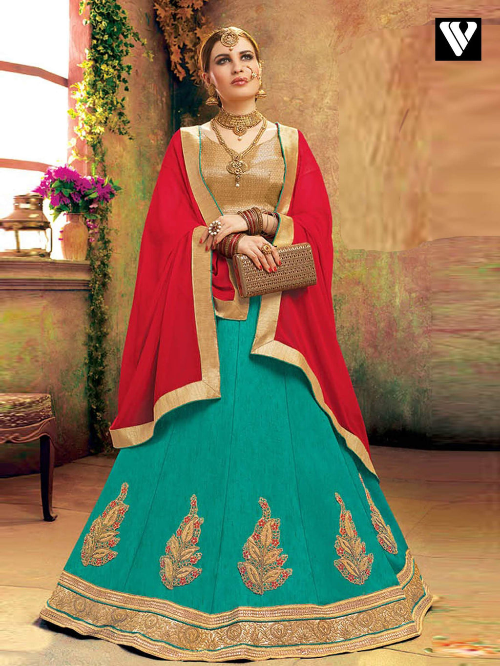Designer Elegant Soft Silk Lehenga Saree In Green