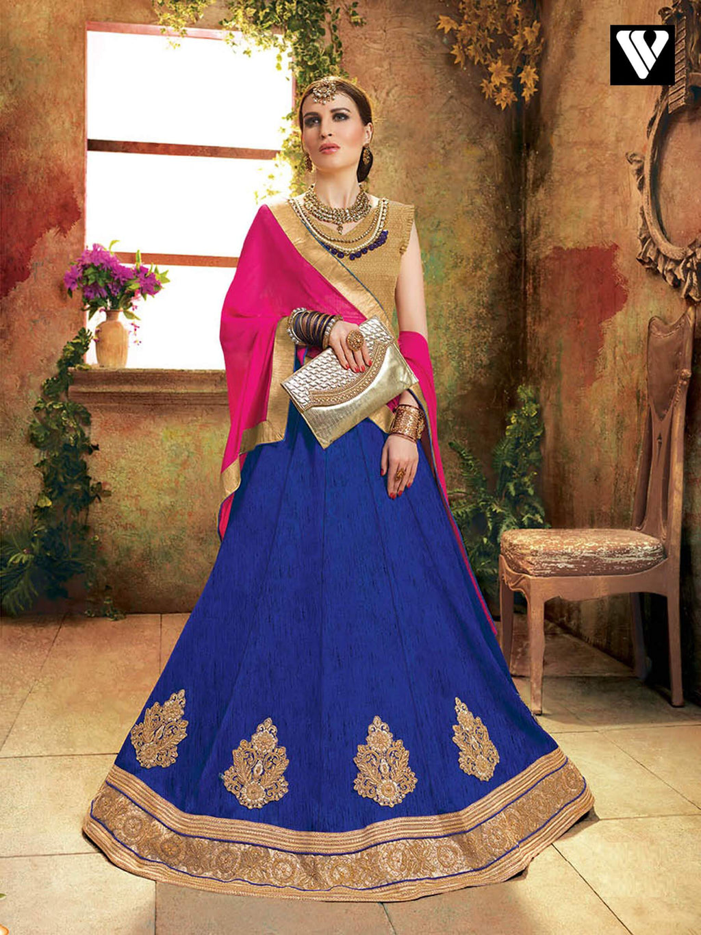 Blue Color Soft Silk Lehenga Saree