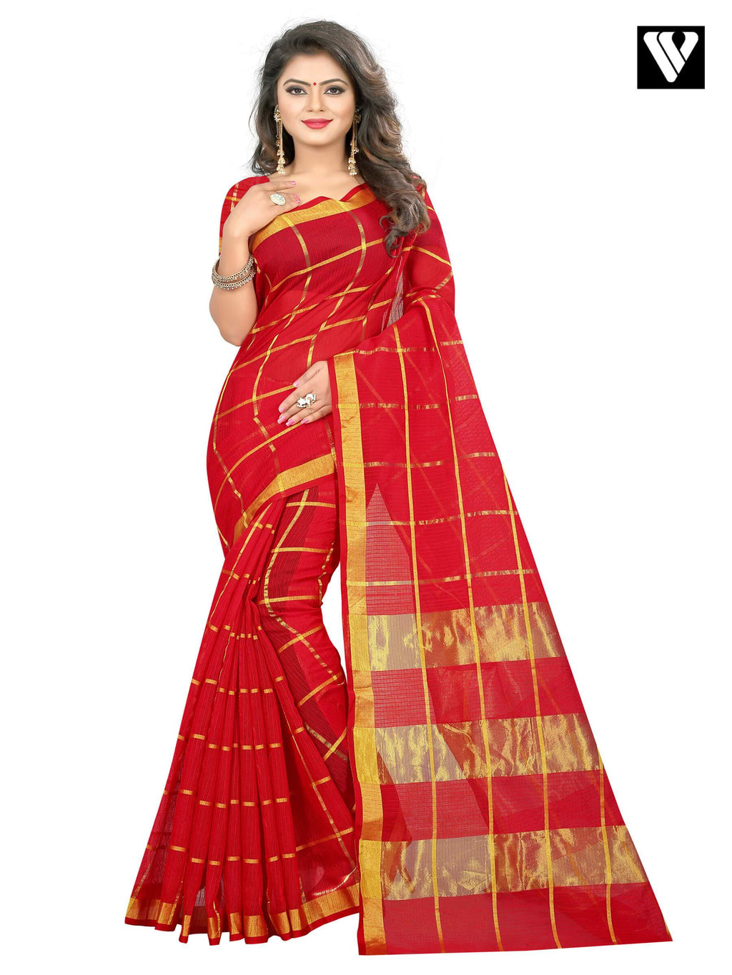 Temple Wear Cotton Traditional Saree In Red