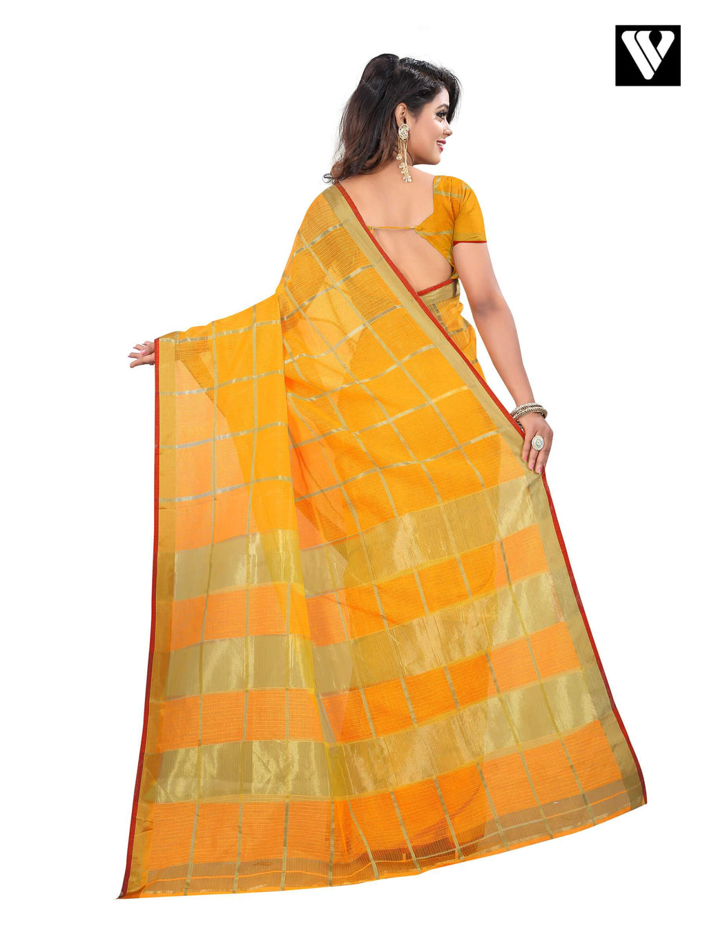 Traditional Fancy Temple Wear Cotton Saree In Mustard