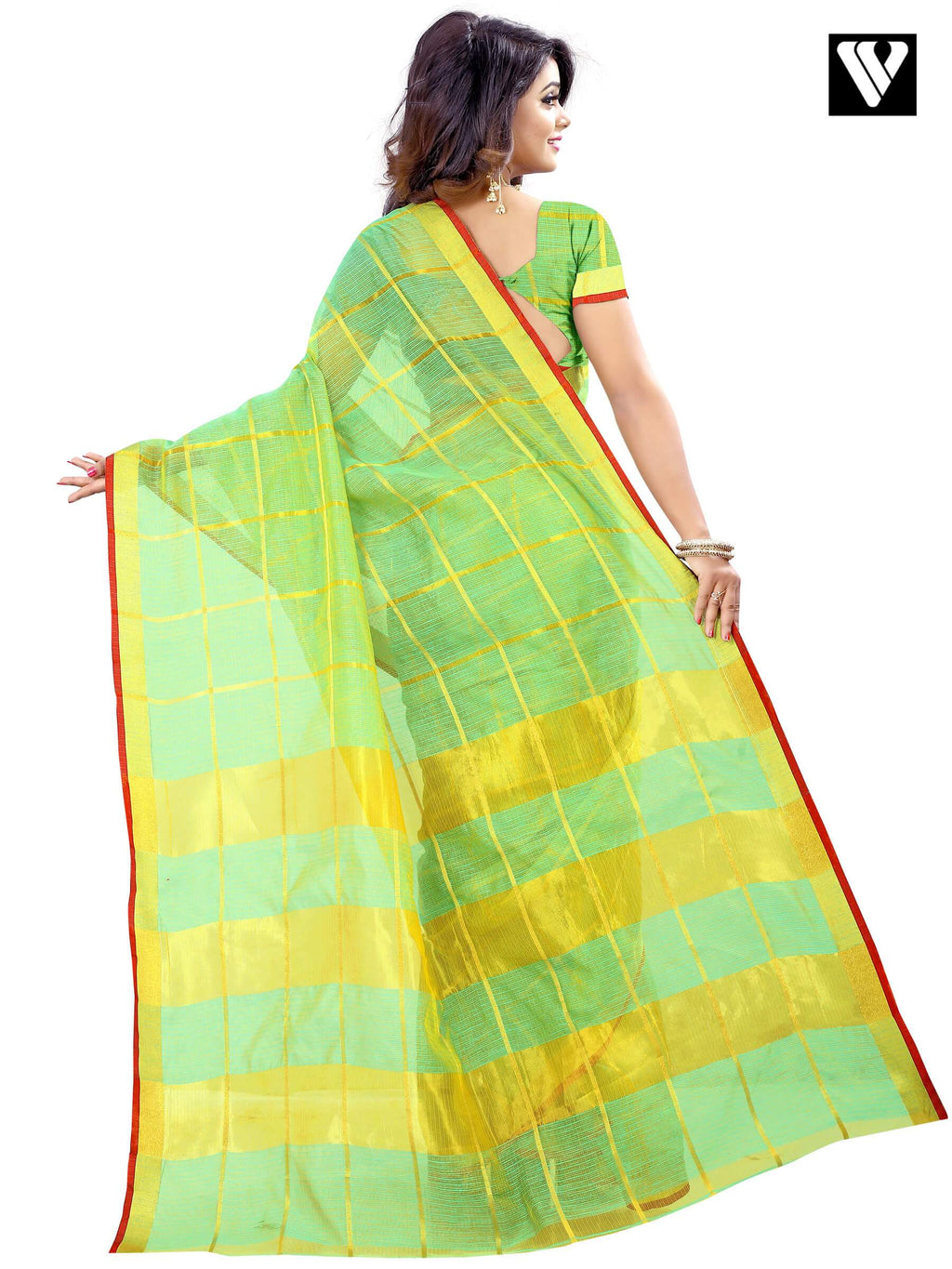 Cotton Traditional Temple Wear Sea Green Saree