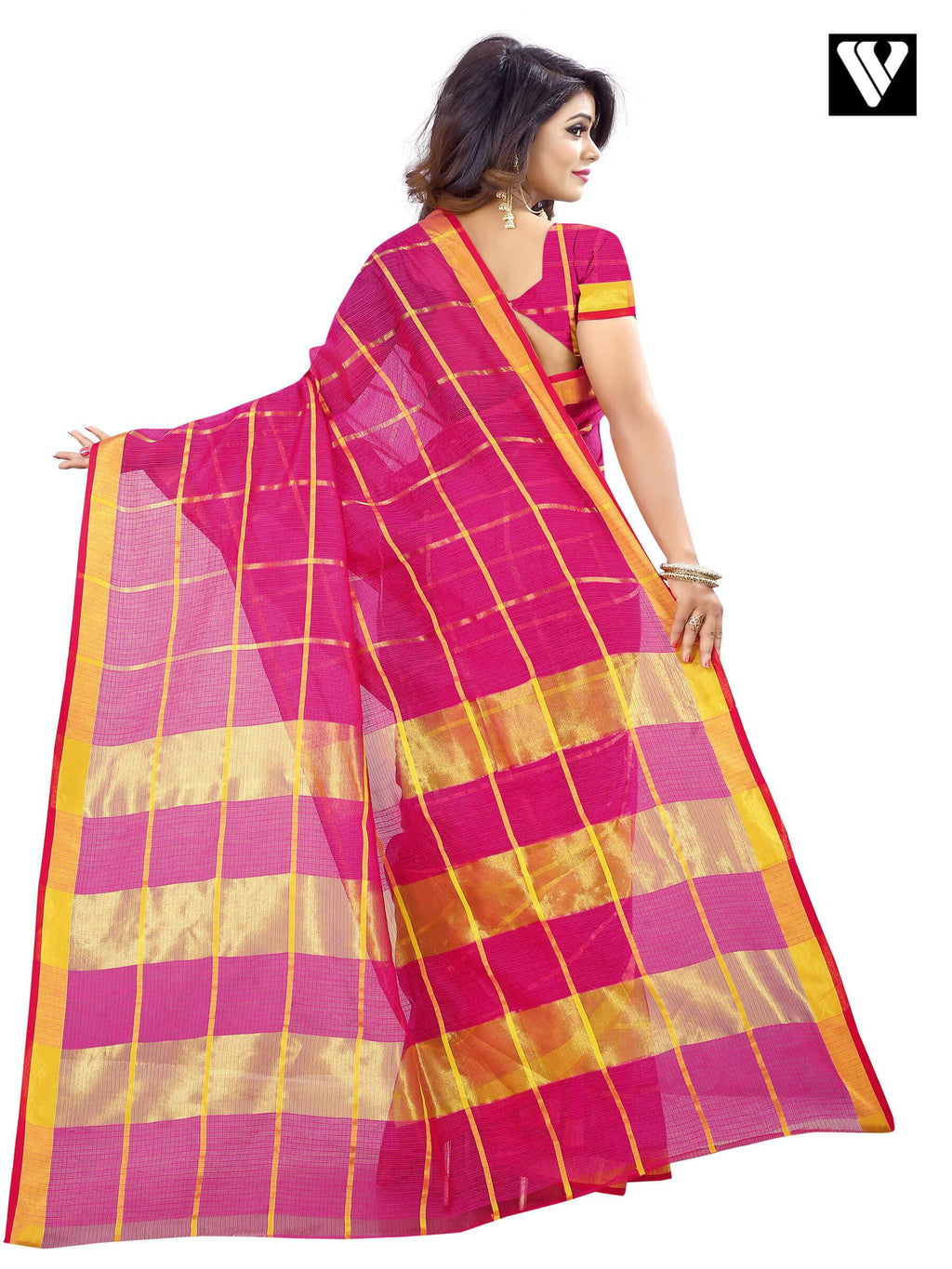 Traditional Temple Wear Cotton Rani Color Saree
