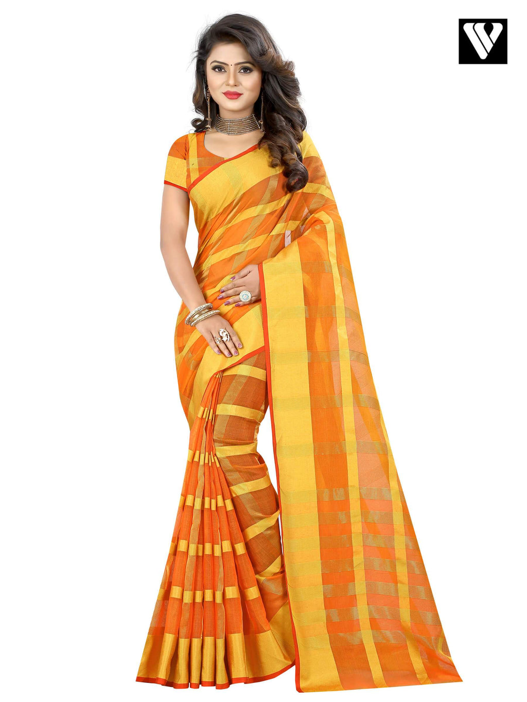 Temple Wear Orange Traditional Saree In Cotton
