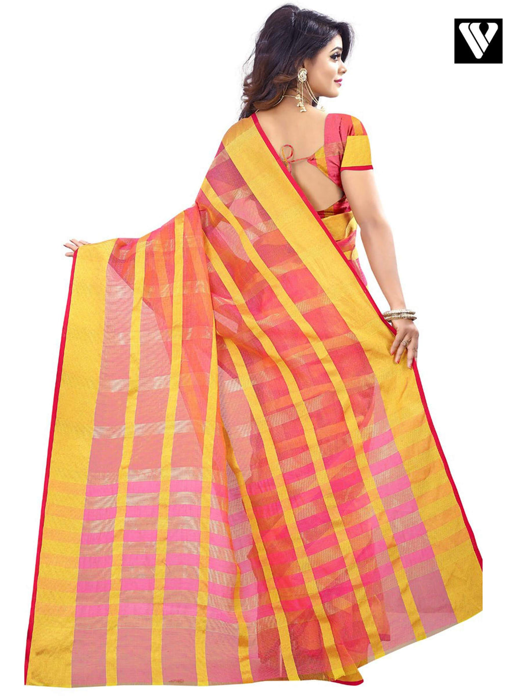 Traditional Fancy Temple Wear Salmon Color Saree In Cotton