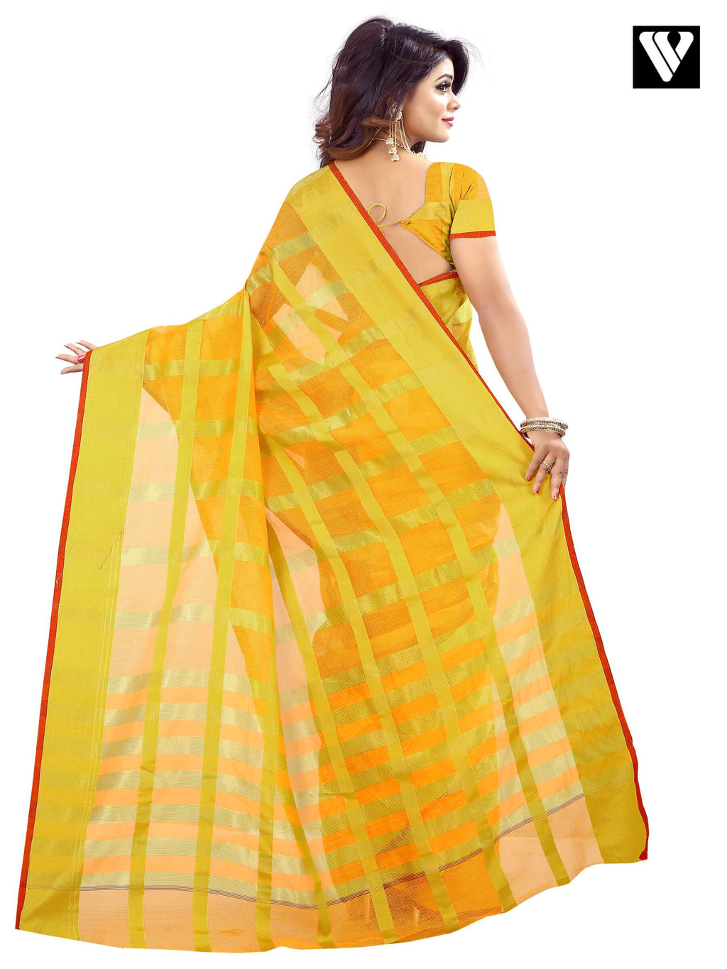 Temple Wear Fancy Traditional Saree In Cotton Mustard