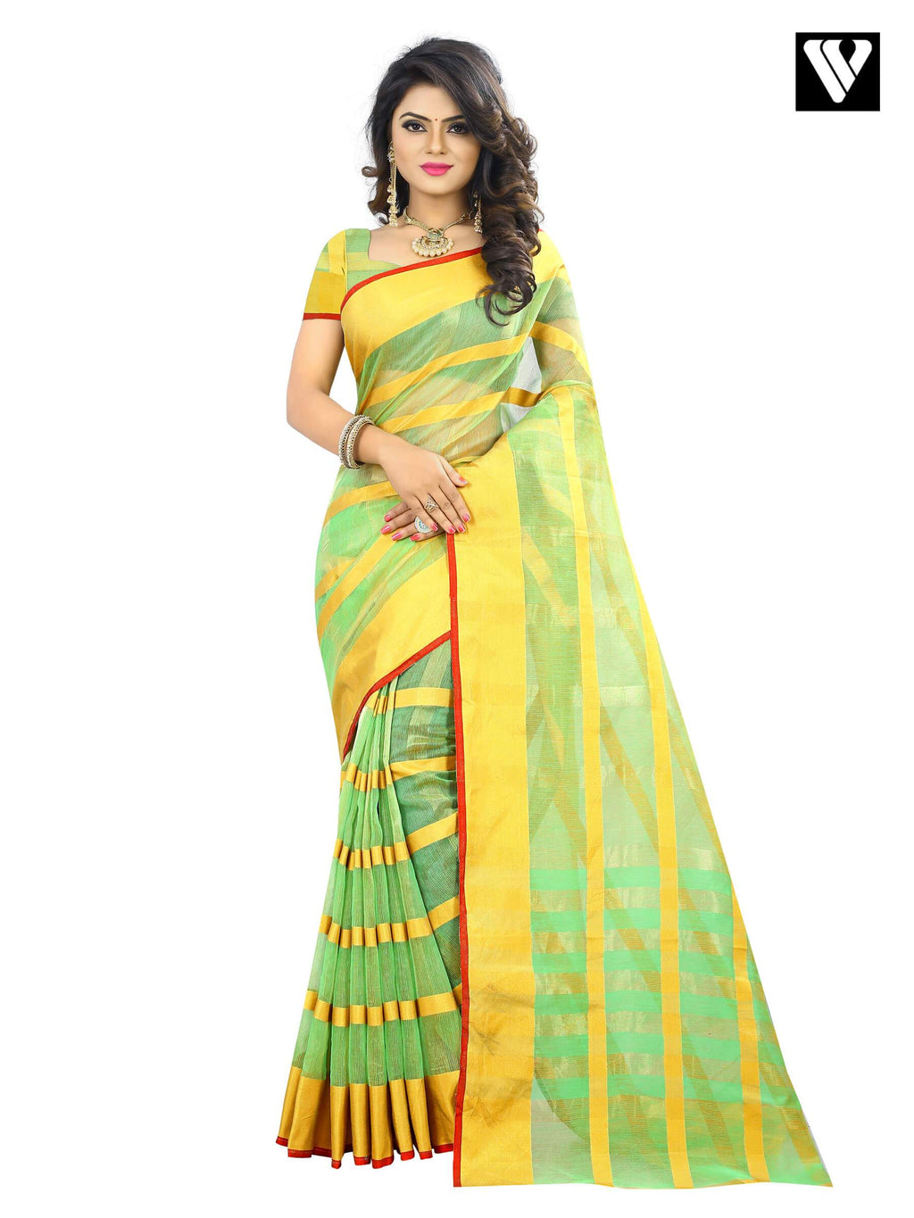 Sea Green Traditional Temple Wear Cotton Saree