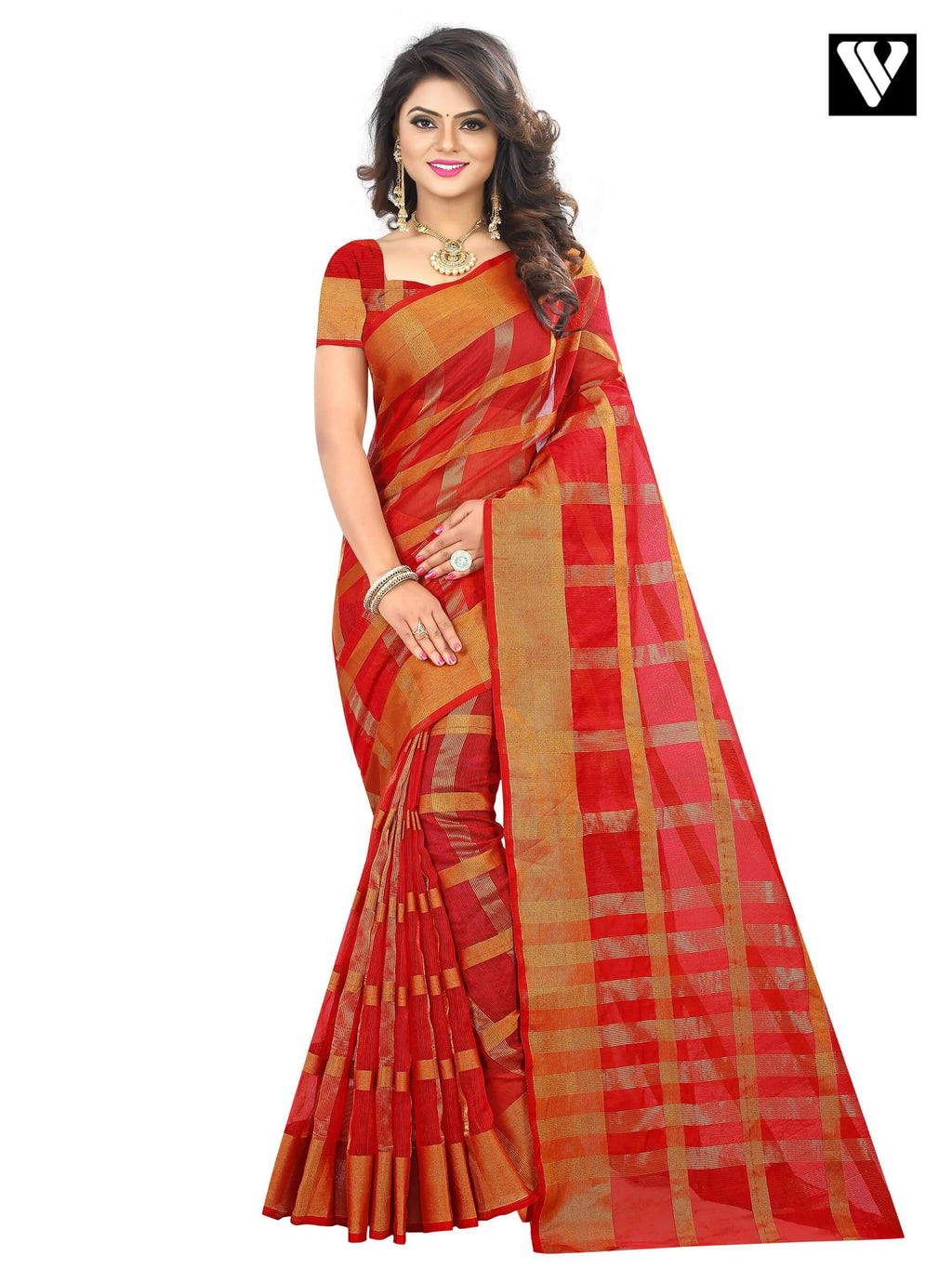 Traditional Temple Wear Red Color Cotton Saree