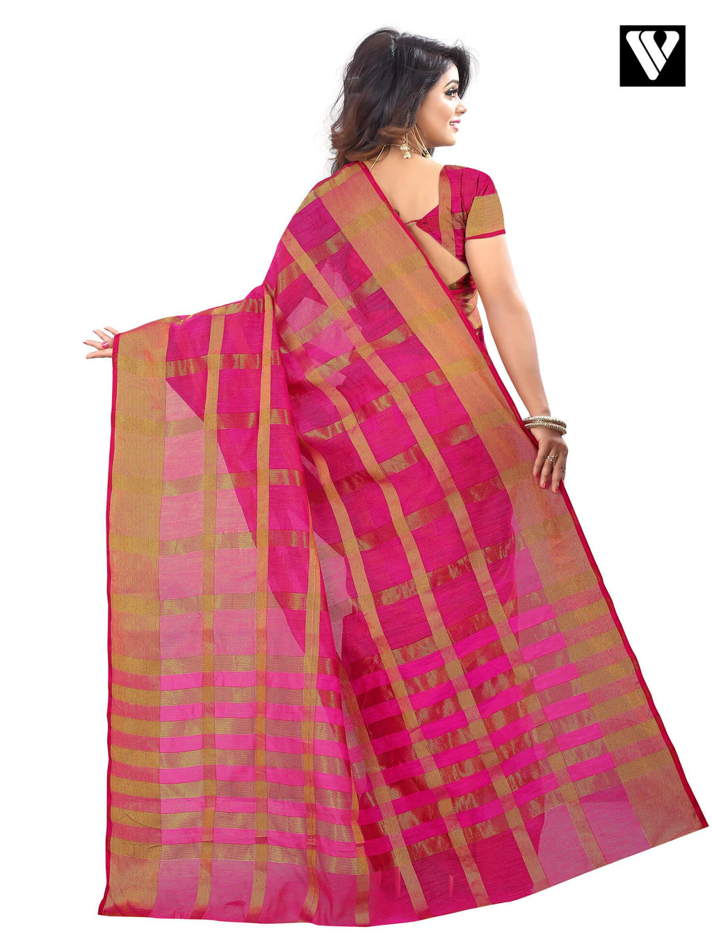 Traditional Temple Wear Rani Color Cotton Saree