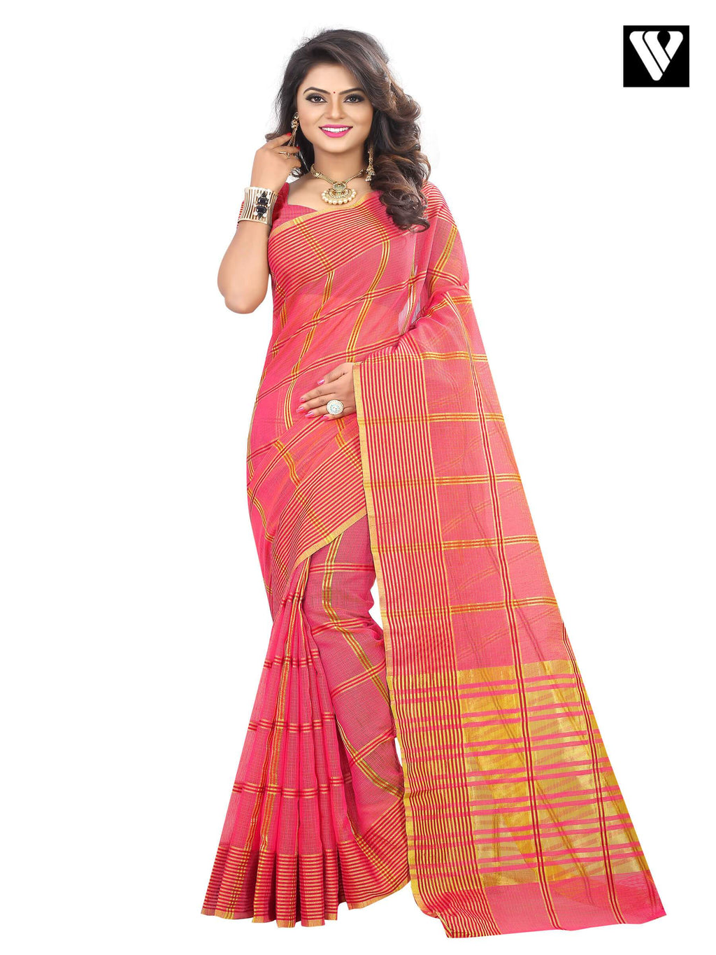 Traditional Cotton Fabric Pink Fancy Temple Wear Saree
