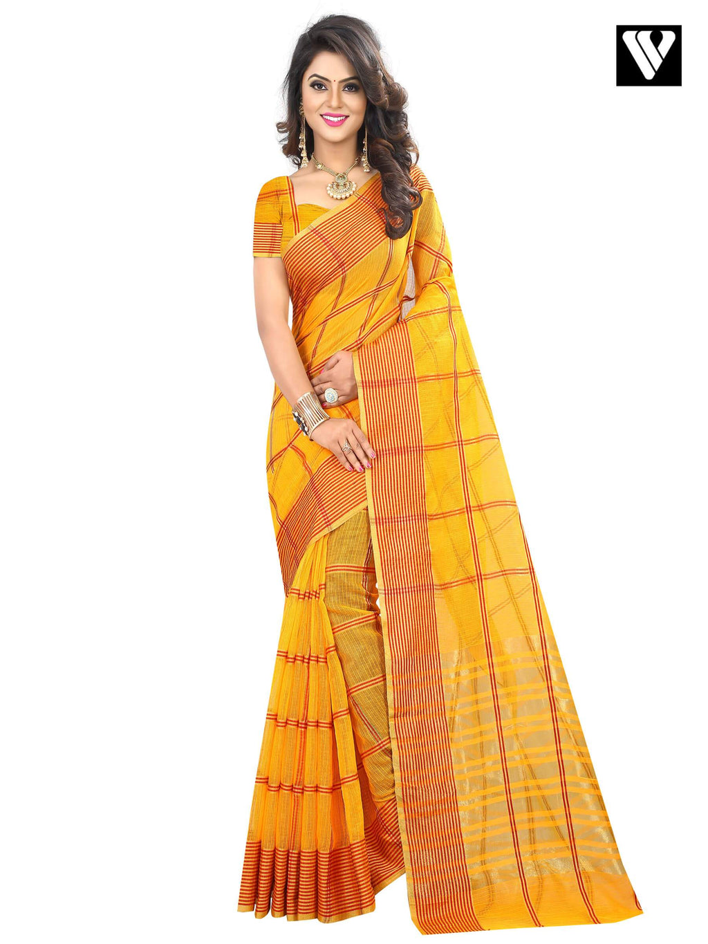 Cotton Fabric Temple Wear Yellow Fancy Traditional Saree