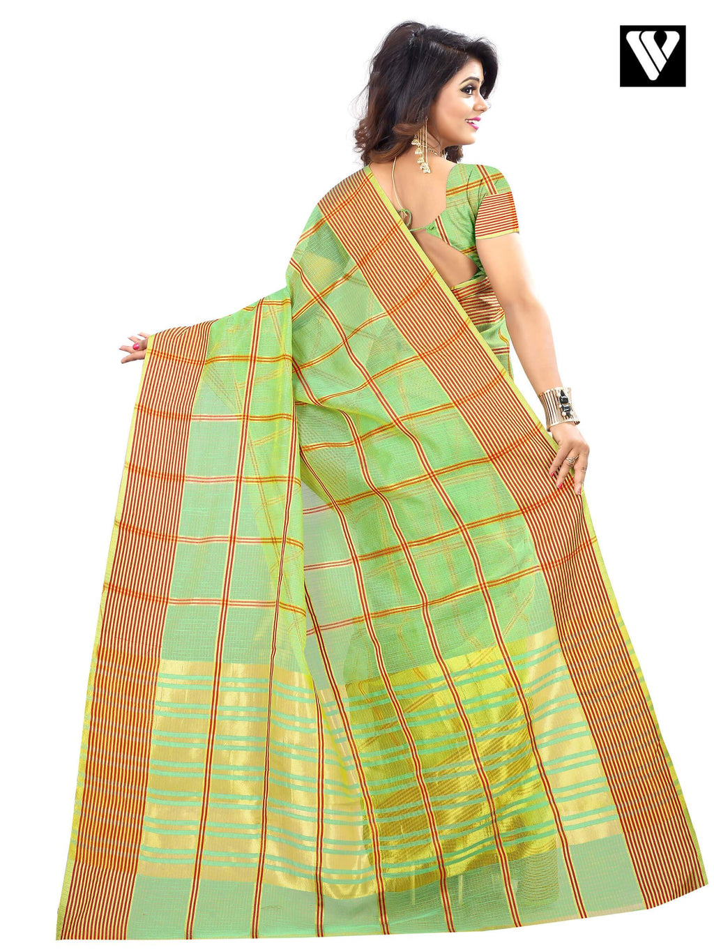 Traditional Temple Wear Cotton Fabric Sea Green Saree