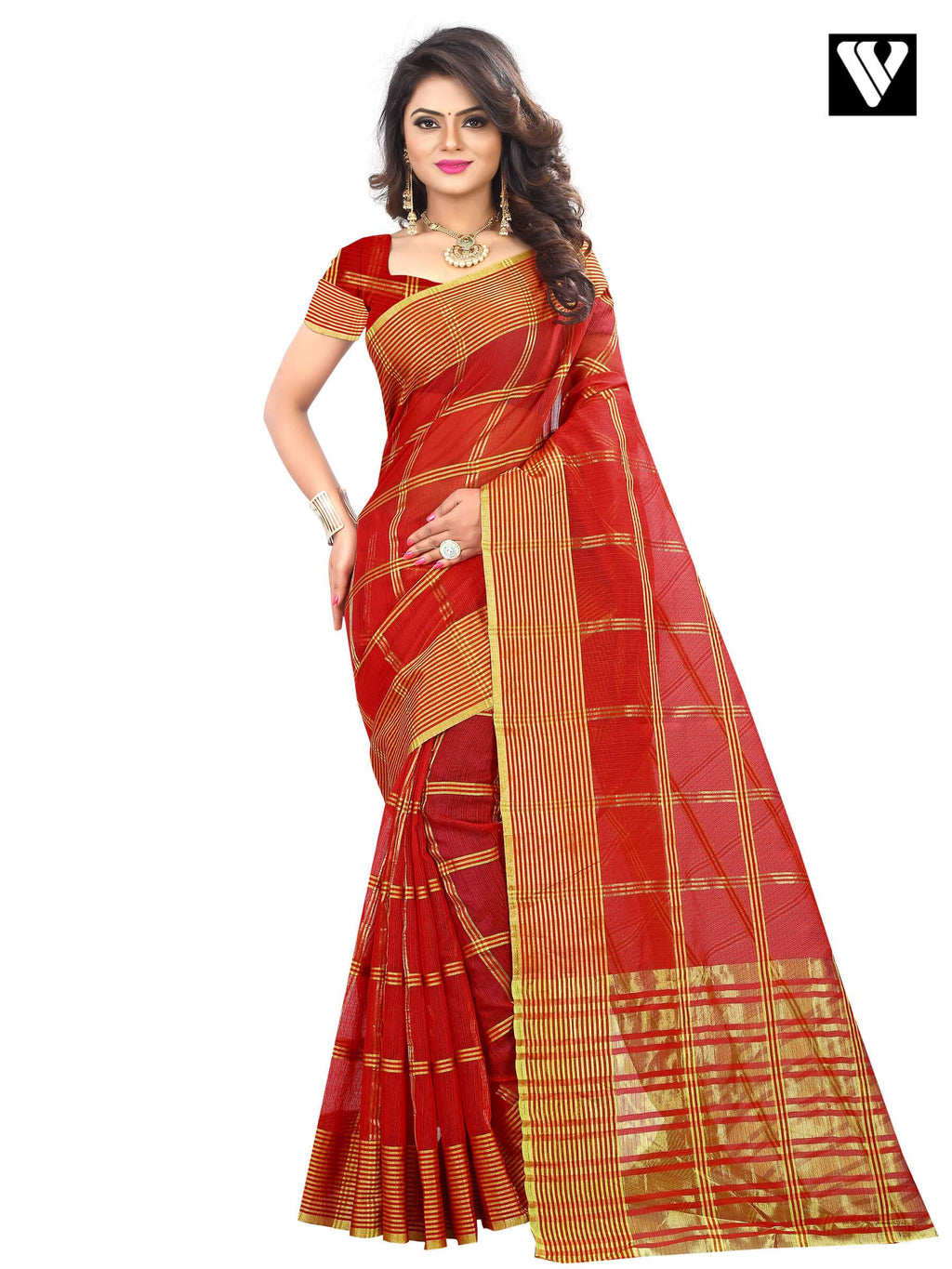 Temple Wear Traditional Cotton Fabric Saree In Red