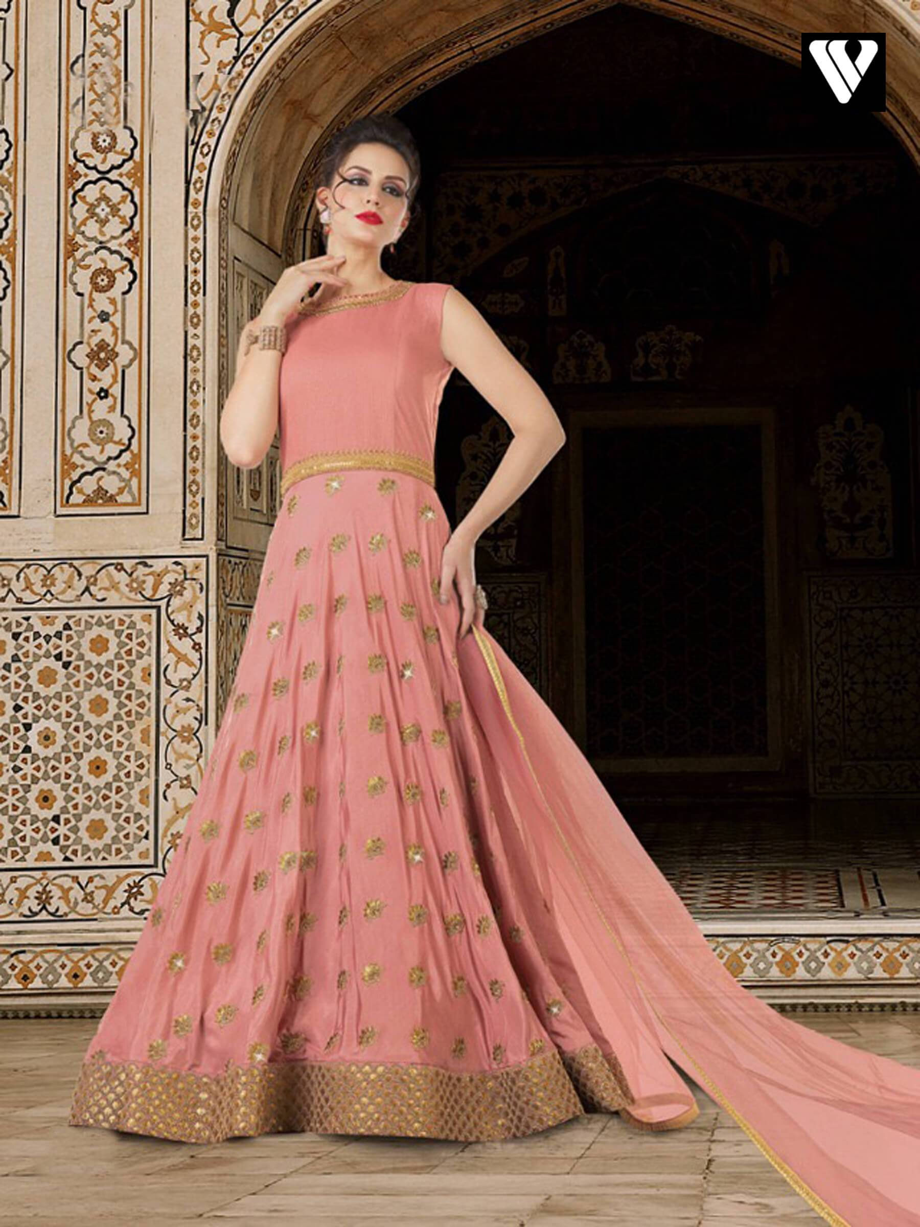 da369dda584 Light Coral Sana Silk Heavy Embroidery Floor Touch Wedding Wear Anarkali  Suit