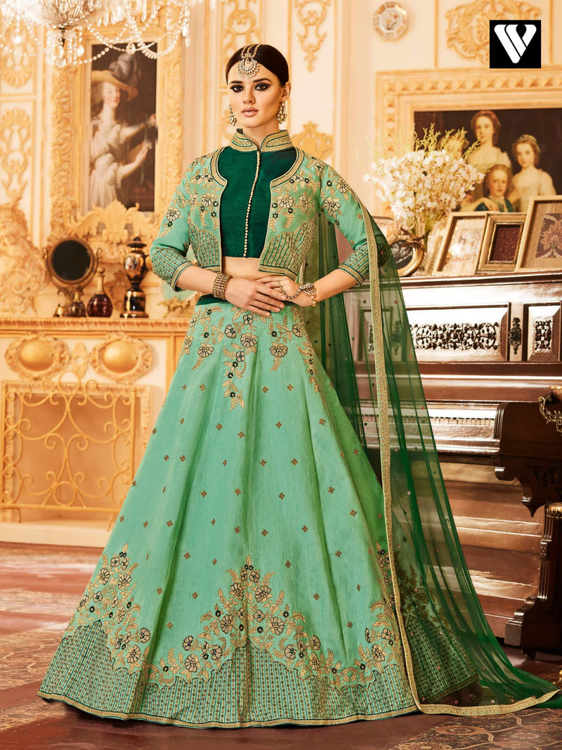 Pista Green Color Designer Embroidered Party Wear Raw Silk Lehenga Choli