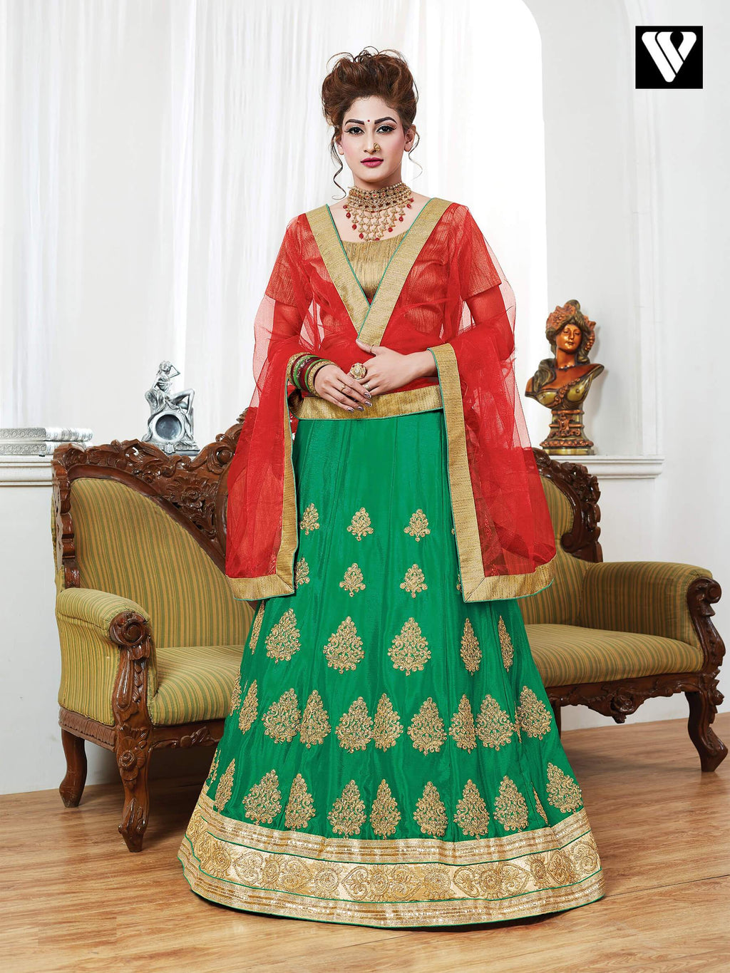 Designer Georgette Lehenga Saree In Green
