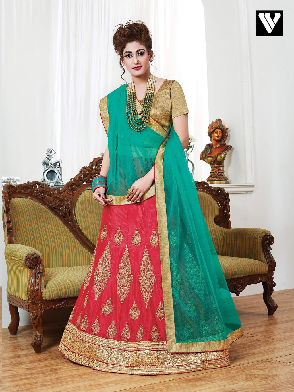 Elegant Design Georgette Lehenga Saree In Red