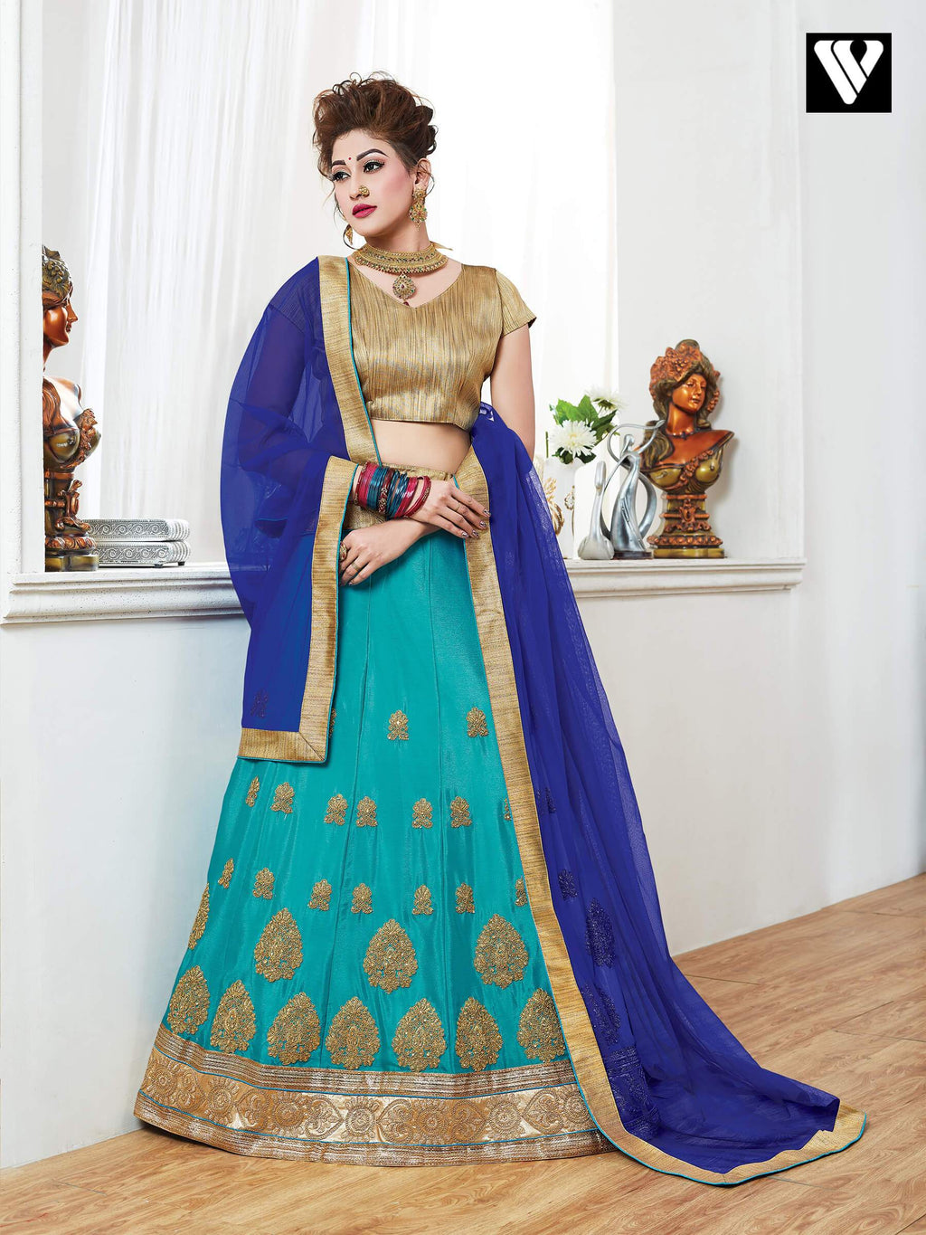 Fashionable Design Georgette Lehenga Saree In Teal Green