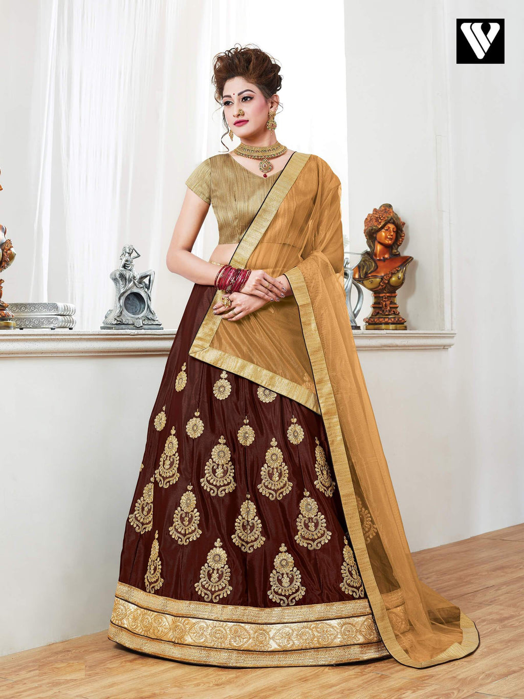 Nice Design Georgette Lehenga Saree In Chocolate
