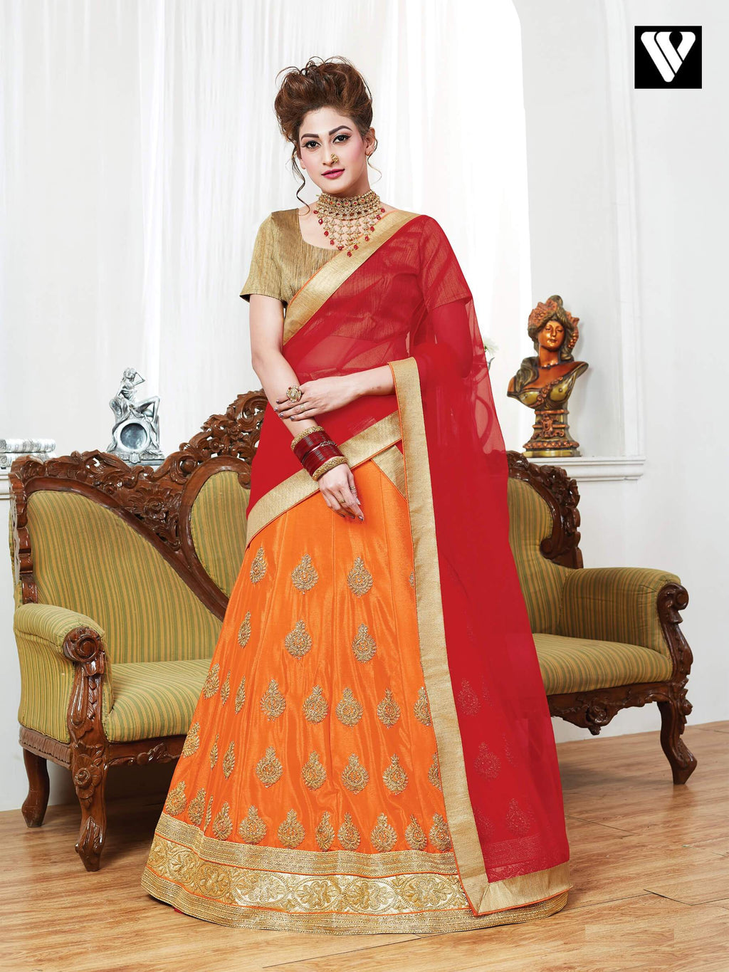 Partywear Design Georgette Lehenga Saree In Orange
