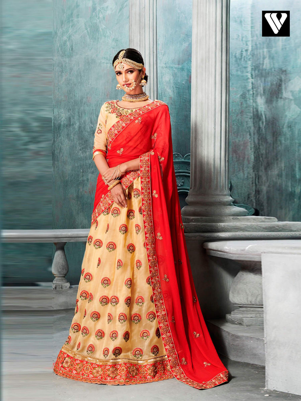 Designer Organza Lehenga Saree In Cream