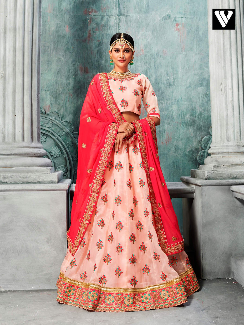 Fancy Designer Organza Lehenga Saree In Peach