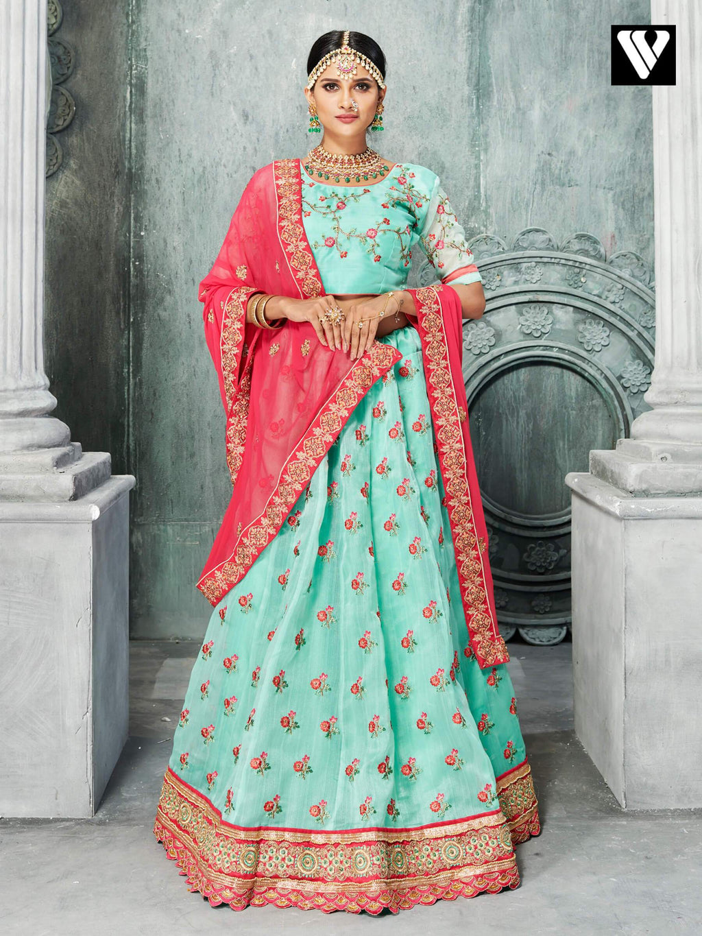Elegant Fashion Organza Lehenga Saree In Aqua Green