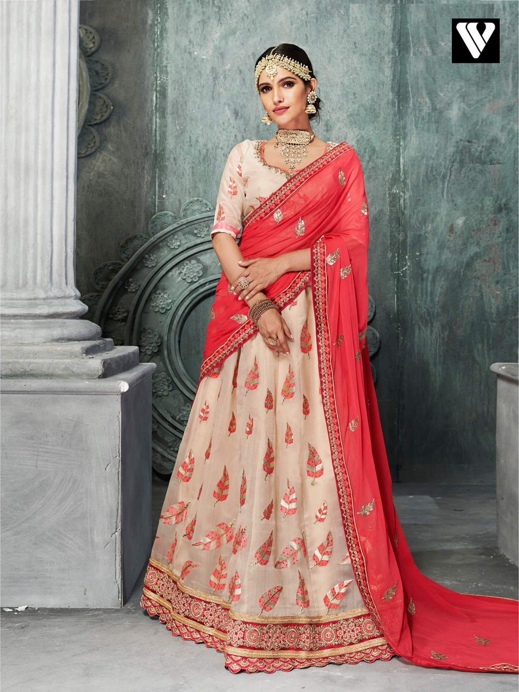 Designer Elegant Organza Lehenga Saree In Off-White